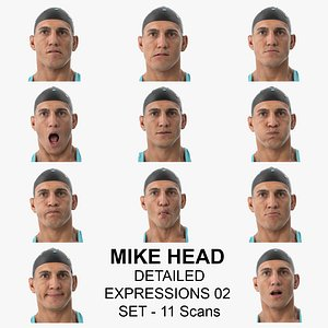 3D model Mike Real Head Detailed Expressions 02 Set 11 Clean Scans Collection