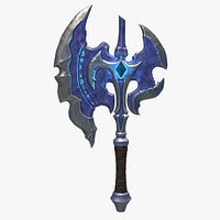 Stylized Axe With Crystal for game ready PBR melee weapon Low-poly