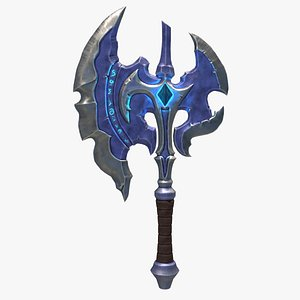 Stylized Axe With Crystal for game ready PBR melee weapon Low-poly 3D model