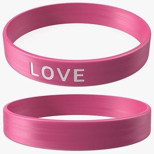3D Love Silicone Wristband