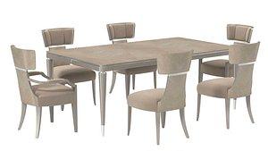3D Michael Amini AICO LANTERNA rectangular dining table and chairs