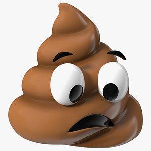 Anguished Poop Emoji Smile 3D
