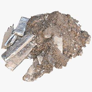 Construction soil heap and concrete rubble 3D