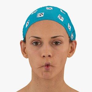 3D model athena human head cheek