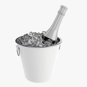 Champagne bottle in bucket 3D