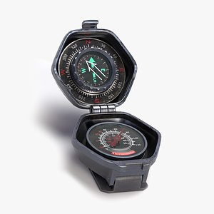 3D Portable Compass and Thermometer Navigation Tool model
