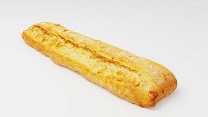 3D Ciabatta Italian baked white bread