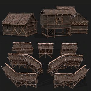 3D model Medieval Modular House Units and Guard Wall