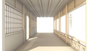 corridor hallway japanese 3D model