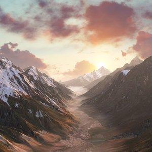3D canyon landscape mountain