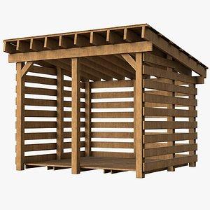 3D model wood firewood shed