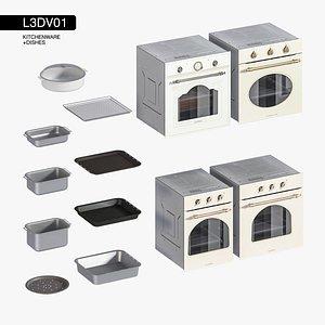 3D set oven kitchen