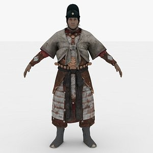 3D Chinese Man warrior Rigged model
