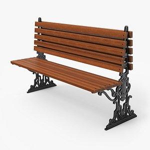 3D city bench pbr - model