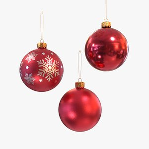 Christmas balls red 3D model
