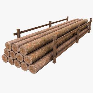 3D model Wood Logs v1  with PBR 4K 8K