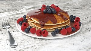 3D Pancake with blueberry and raspberry dressed with maple syrup model