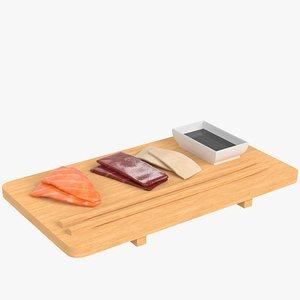 3D Sushi sashimi and soy sauce