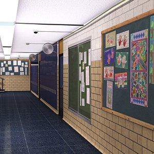 school classroom hallway 3D model