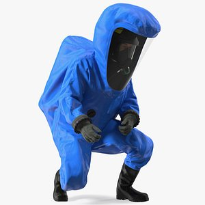 Fully Encapsulating Chemical Protection Suit Squat Pose 3D model