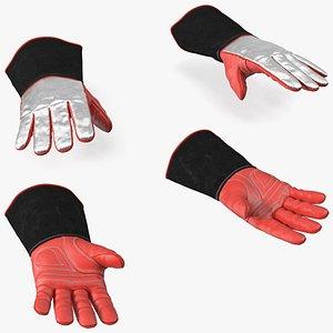 Aluminized Heat Resistant Welding Gloves 3D