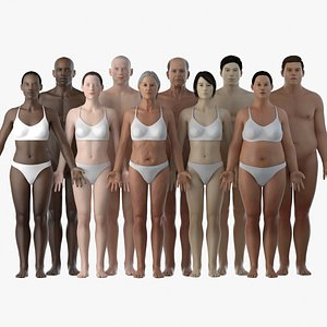 Male and Female Body Set 3D model