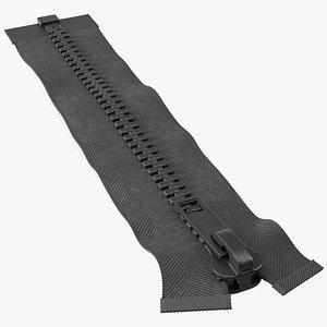 3D One Sided Plastic Zipper Closed Black