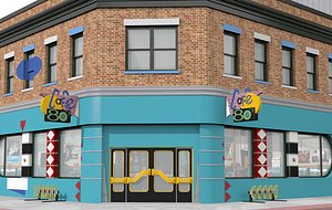 3D Hill Valley 2015 Café 80's and Blast from the Past with café 80s interior