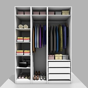 3D IKEA PAX WARDROBE WITH CLOTHES