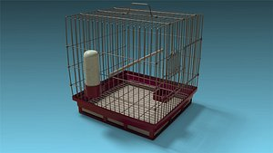 low-poly bird cage 3D model