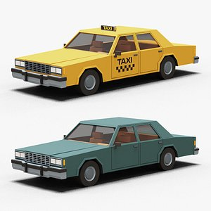 3D tylized Cartoon Yellow Taxi Car Low-poly model