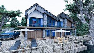 cabin-wood modern-villa 3D model