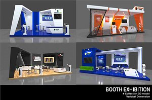 4 booth exhibition modern 3D model