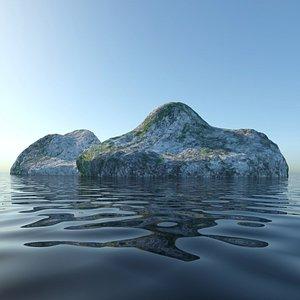 island land rock 3D model
