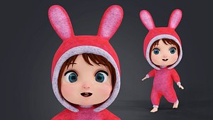 3D Cartoon Coat Girl Rigged