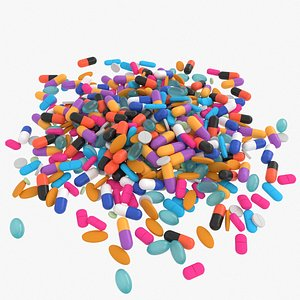 3D medicine pills pile model