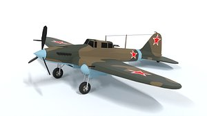 3D Low Poly Cartoon Ilyushin Il-2 Shturmovik WWII Airplane