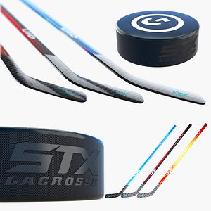 Ice Hockey Puck and Stick 3D model