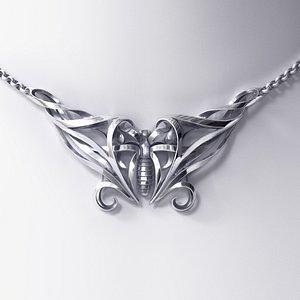Art Noveau Butterfly Necklace 3D Model model