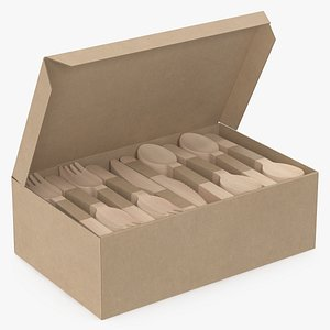 wooden cutlery set box 3D model