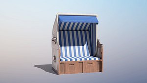 low-poly roofed wooden beach 3D
