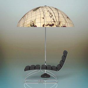 parasol sunbed 3D