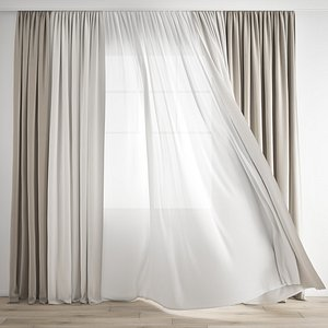 Curtain 266-Wind blowing effect 1 3D