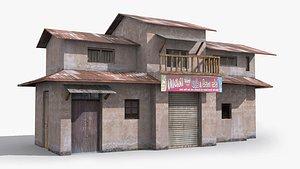 3D slum shanty hut