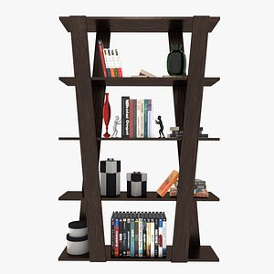 blender bookshelf books model