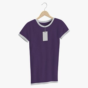 3D Female Crew Neck Hanging With Tag White and Purple 02