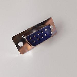 D-Sub Connector 9 Pin 3D model