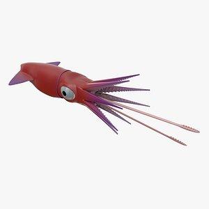 Cartoon Squid 3D model