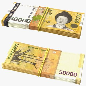 3D Stack of South Korean 50000 Won Banknotes