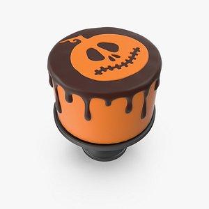 3D model Halloween Cake with Pumpkin Face Topper